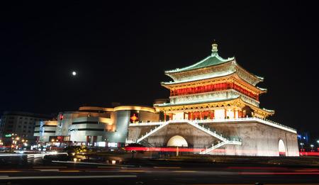 Xian clock tower night Editorial