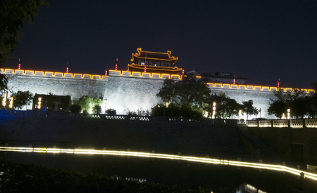 Night view of Xian ancient city wall