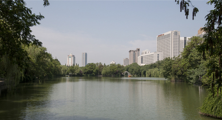 Hefei lord Bao Park with city scenery