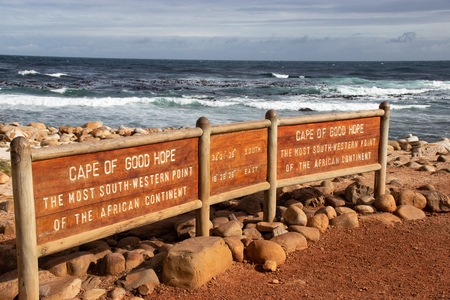 Cape of good hope sign with the geographical coordinates Imagens