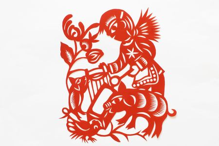 This is a picture about  pigs.chinese paper cutting is a unique culture with elements unique to china. photo