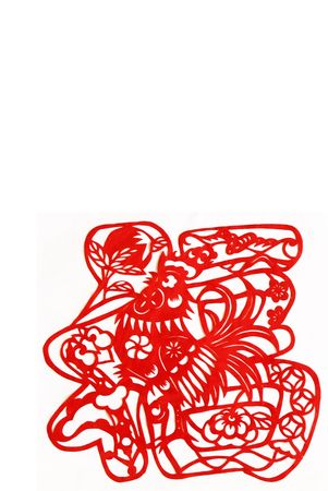 cock sing luck.This is a picture of chinese paper cutting.This is Chinese characters  photo