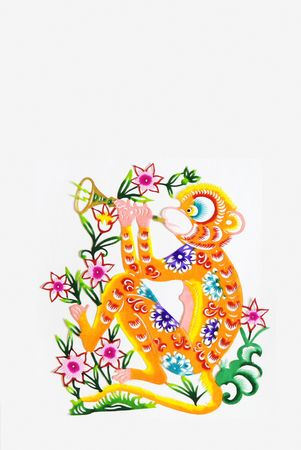 color paper cutting.Chinese zodiac animals.monkey.