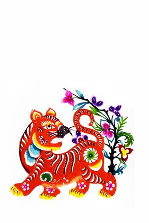 color paper cutting.Chinese zodiac animals.tiger.