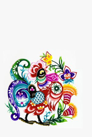color paper cutting.Chinese zodiac animals.rooster.