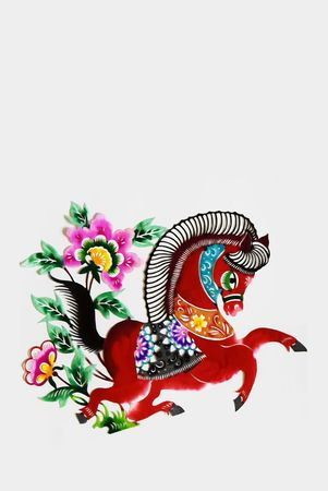 cutting horse: color paper cutting.Chinese zodiac animals.horse. Stock Photo