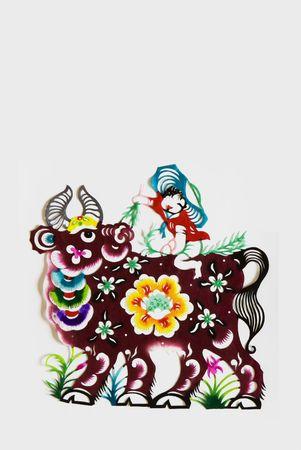 buey: buey, el color de papel de corte. animales del zodiaco chino.