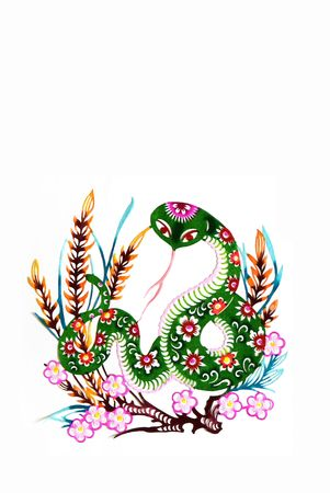 decoupage: snake,  color paper cutting .Chinese zodiac animals. Stock Photo