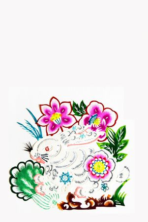 decoupage: hare,    color paper cutting .Chinese zodiac animals. Stock Photo