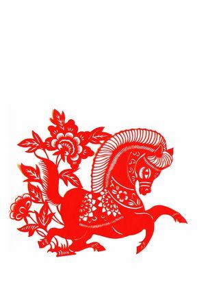 recortando: caballo, los animales del zodiaco chino.