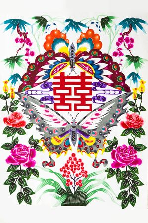 Magpie Welcome Good Luck to.This is a Chinese paper-cut picture. pictures reflect happiness, good fortune, tied the knot meaning. Stock Photo - 5655414