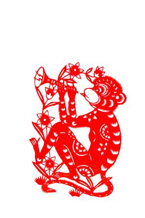 monkey, paper cutting Chinese Zodiac.These paper cutting show that Chinese Zodiac, such as rat, ox, tiger. Stock Photo