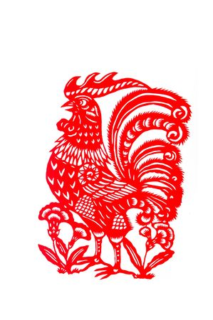 rooster,paper cutting Chinese Zodiac.These paper cutting show that Chinese Zodiac, such as rat, ox, tiger.