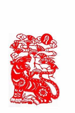 tiger,paper cutting Chinese Zodiac.These paper cutting show that Chinese Zodiac, such as rat, ox, tiger. Stock Photo