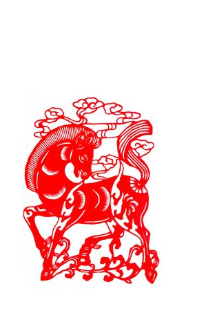 cutting horse: horse, paper cutting Chinese Zodiac.These paper cutting show that Chinese Zodiac, such as rat, ox, tiger. Stock Photo