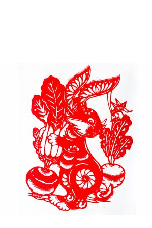 hare,paper cutting Chinese Zodiac.These paper cutting show that Chinese Zodiac, such as rat, ox, tiger.