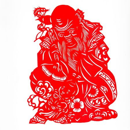 god of longevity.This is the Chinese color paper cutting, a symbol of longevity God. photo