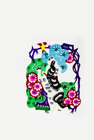 Dog,This is a Chinese paper-cut, reflecting the dog happy life scenas. Stock Photo - 5764203