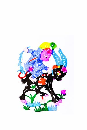 scenarios: monkey,This is a Chinese paper-cut, reflecting the animal a happy life scenarios.