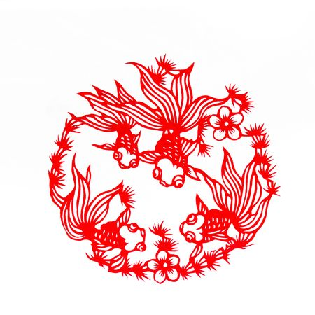 Fish,This is a Chinese paper-cut, reflecting the animal a happy life scenarios.