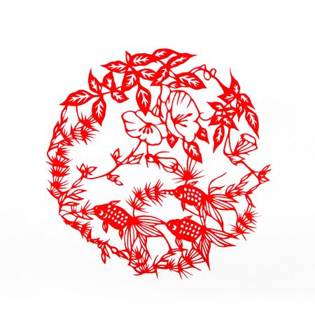 scenarios: Fish.This is a Chinese paper-cut, reflecting the animal a happy life scenarios.