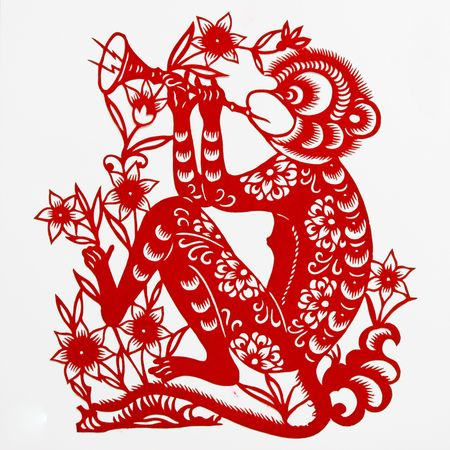 paper cutting: monkey,This paper-cut shows the monkey, is one of the Chinese Zodiac.