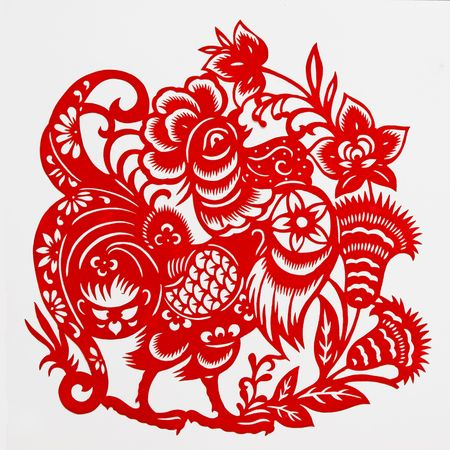 paper cutting: rooster,This paper-cut shows the rooster, is one of the Chinese Zodiac.