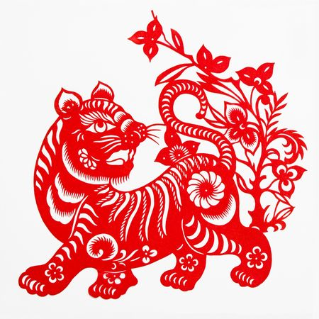 tiger,This paper-cut shows the tiger, is one of the Chinese Zodiac. Stock Photo