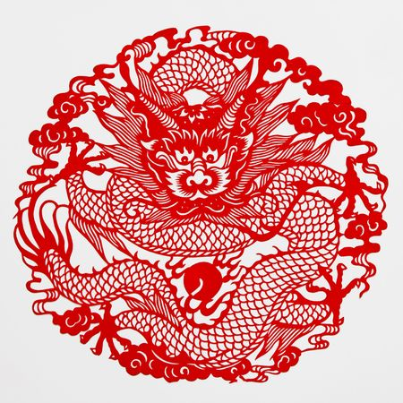 dragon,This paper-cut shows the dragon, is one of the Chinese Zodiac. photo
