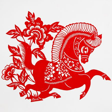 horse,This paper-cut shows the horse, is one of the Chinese Zodiac. photo