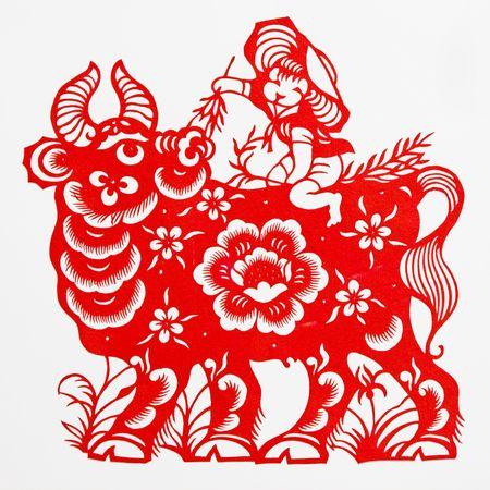 buey: buey, papel-corte muestra el buey, es una del zodiaco chino.