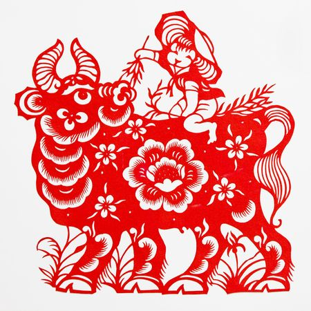 paper cutting: ox,This paper-cut shows the ox , is one of the Chinese Zodiac. Stock Photo