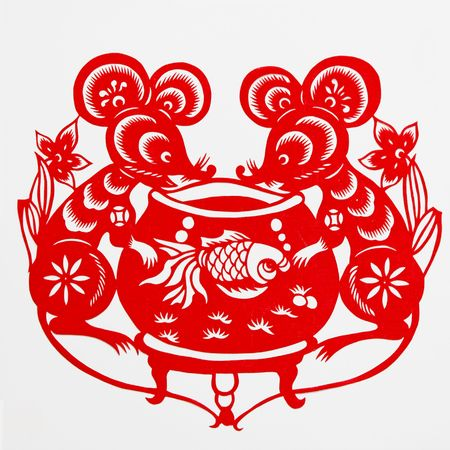burrowing: rat,This paper-cut shows the rat, is one of the Chinese Zodiac.