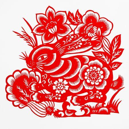 folk culture: liebre, esta muestra de papel-corte la liebre, es uno del zodiaco chino.