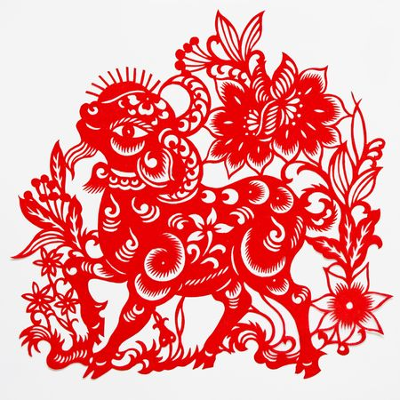 sheep,This paper-cut shows the sheep, is one of the Chinese Zodiac. Stock Photo
