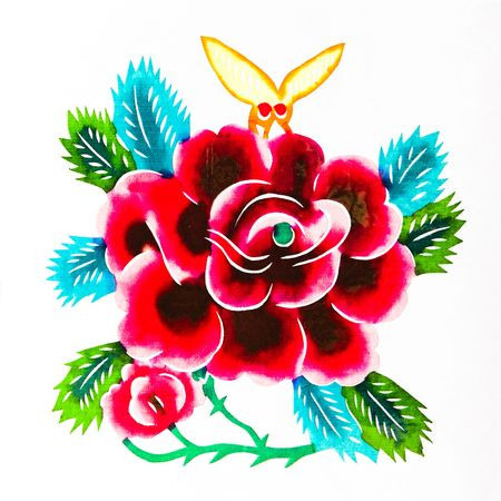 Beautiful flowers.This is a colored paper-cut pictures, pictures reflect the beauty of a beautiful flower scene.  photo