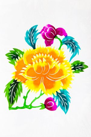 Beautiful flowers.This is a colored paper-cut pictures, pictures reflect the beauty of a beautiful flower scene.