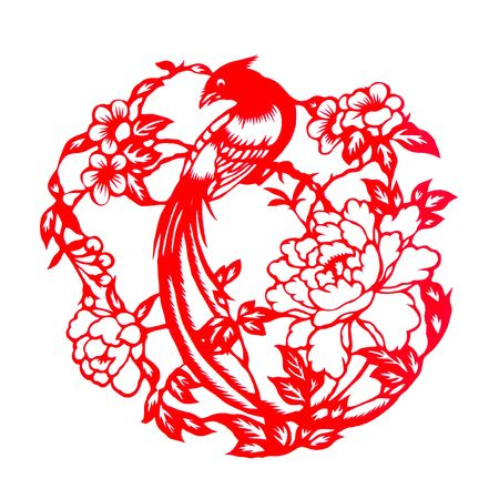 Fine spring day.This is a picture of Chinese paper cutting. paper-cut is one of the traditional Chinese arts and crafts. Stock Photo - 5798548