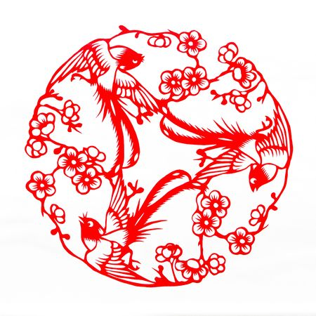Fine spring day.This is a picture of Chinese paper cutting.