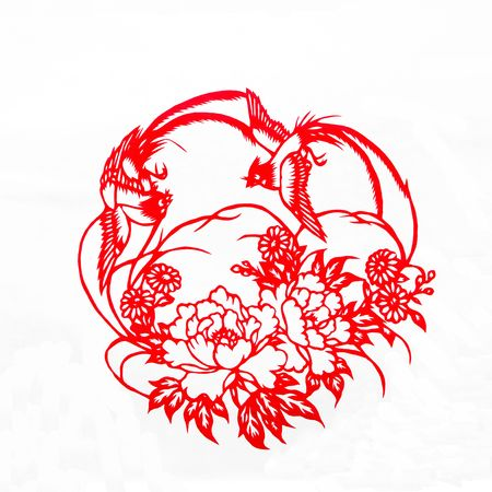 paper cutting: Fine spring day.This is a picture of Chinese paper cutting.