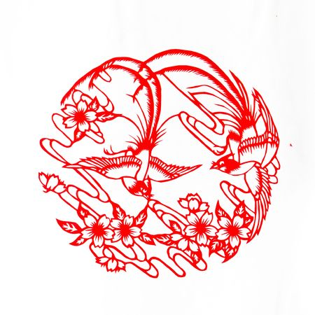 Fine spring day.This is a picture of Chinese paper cutting. photo