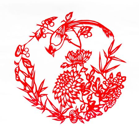 Fine spring day.This is a picture of Chinese paper cutting. paper-cut is one of the traditional Chinese arts and crafts. photo