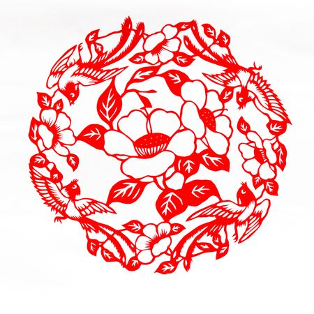 Fine spring day.This is a picture of Chinese paper cutting. paper-cut is one of the traditional Chinese arts and crafts.