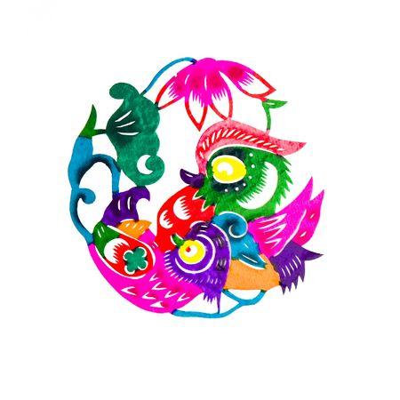 decoupage: Mandarin duck and flowers Stock Photo