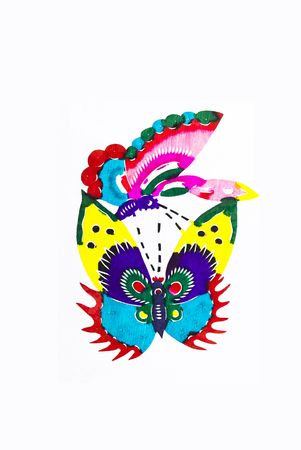 scenarios:  Butterfly.This is a Chinese paper-cut, reflecting the animal a happy life scenarios.