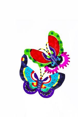 Butterfly.This is a Chinese paper-cut, reflecting the animal a happy life scenarios. photo