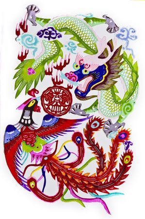 decoupage: dragon.This is a picture of Chinese paper cutting. paper-cut is one of the traditional Chinese arts and crafts.