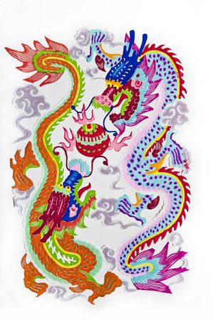 dragon.This is a picture of Chinese paper cutting. paper-cut is one of the traditional Chinese arts and crafts. Stock Photo - 5887554