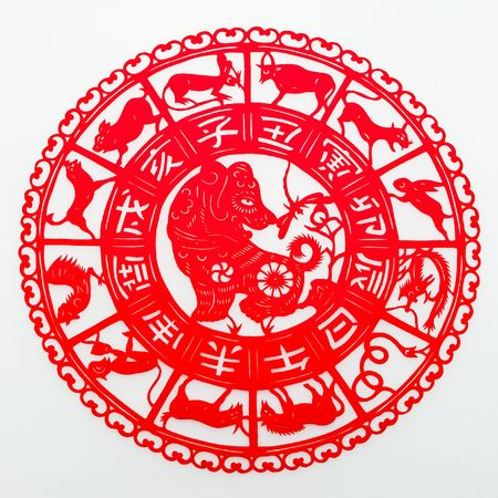 dog,The paper cutting. The Chinese Zodiac.