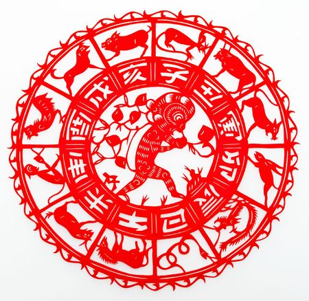 paper cutting: monkey, The paper cutting. The Chinese Zodiac. Stock Photo